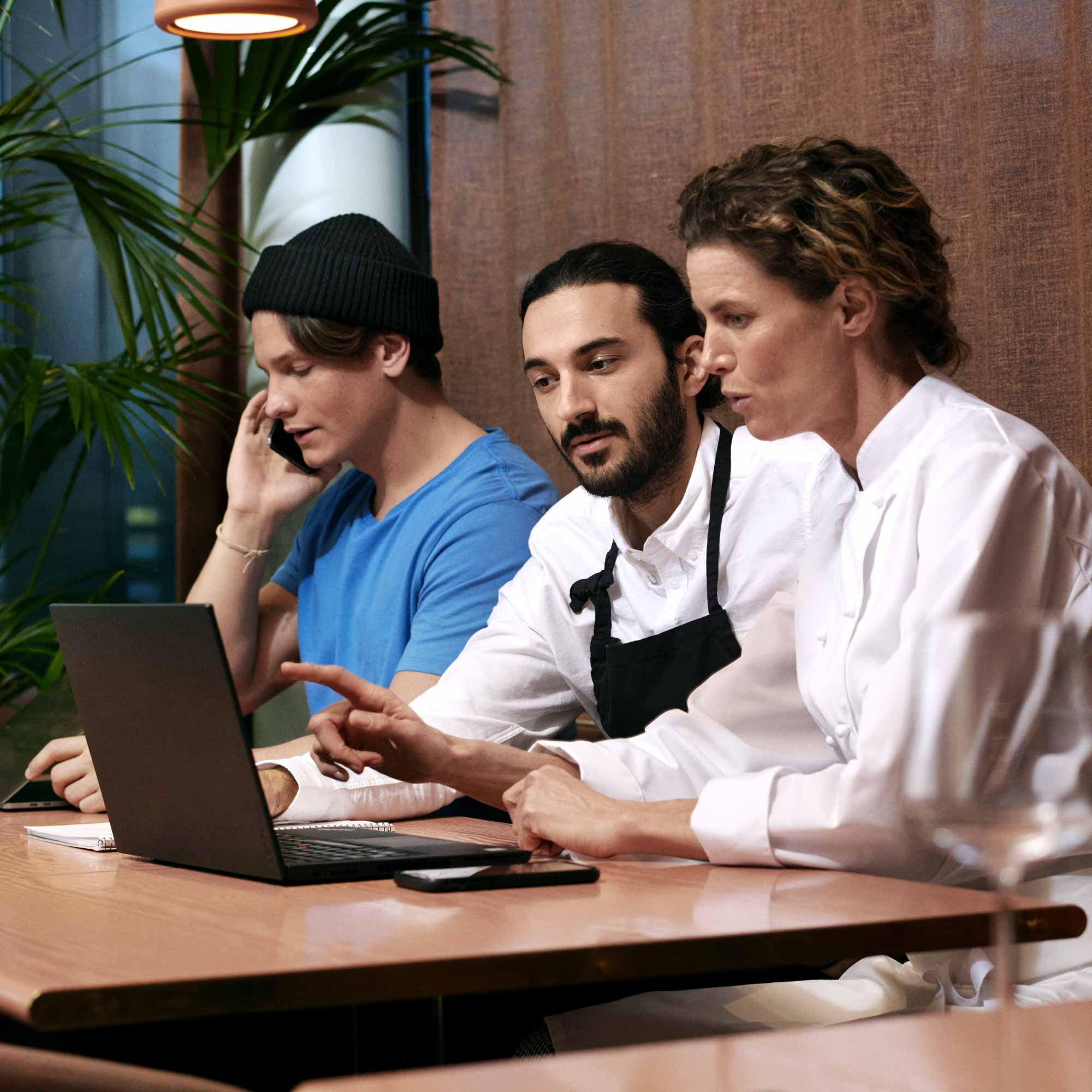 Restaurant staff in meeting